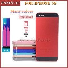 Pieza de Reparación de Colores de alta Calidad de Metal Duro Volver Cubierta de Batería de cubierta para iphone 5s caso cubierta del capítulo medio de oro rojo azul.