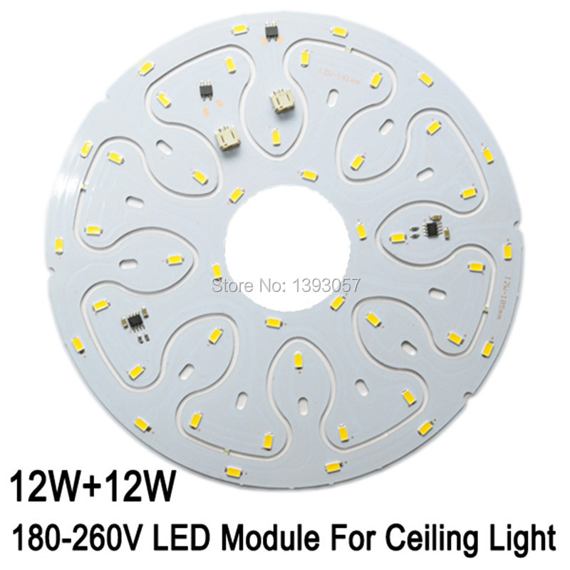 Latest Item. AC180-260V 12W 24W LED Ceiling Panel Circle Light SMD5630 5730 LED PCB Ceiling board free shipping. цена и фото