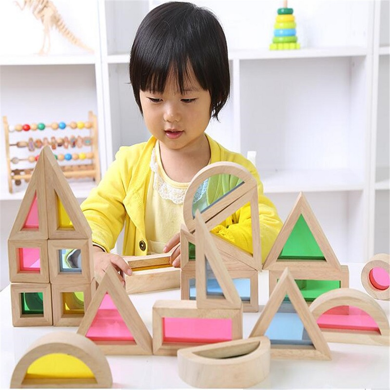 Montessori Wooden Rainbow Building Blocks 24PCS Toys For Children 6 Shape 4 Translucent Colours Brinquedo Oyuncak Brinquedos 50