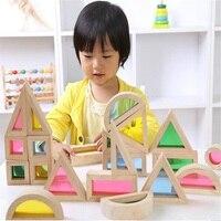 Sukitoy مونتيسوري خشبية لعبة طفل لينة قوس قزح ملون خشبية اللبنات لعبة مجموعة 24 قطع 6 الشكل 4 شفافة الألوان
