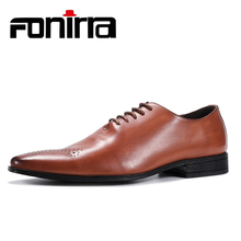 FONIRRA New 2019 Men Business Formal Dress Shoes Oxford Men Leather Shoes British Style Lace Up Pointed Toe Low Top Flats 412