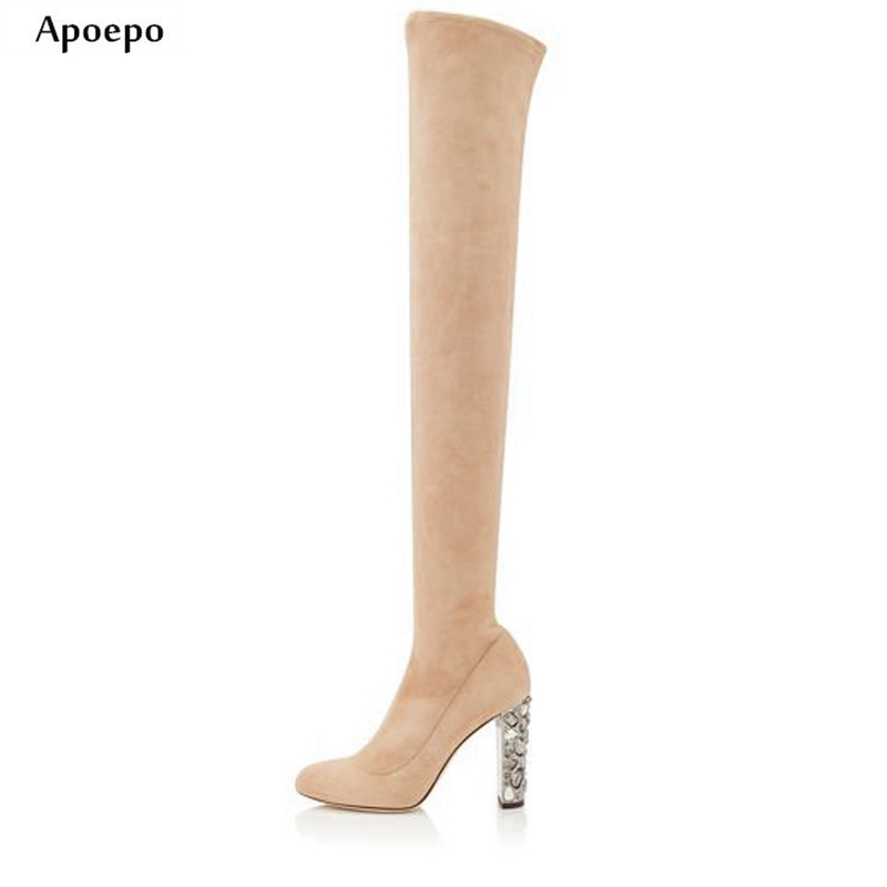 New Beige Suede Over the Knee Boots 2018 Crystal Embellished Thick Heels Long Boots Colorful Rhinestones Thigh high Boots