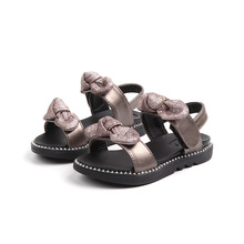 High quality Summer Fashion Girl Sandal Children Girls Flat Rome Bling bowknot Kids Shoes black silver