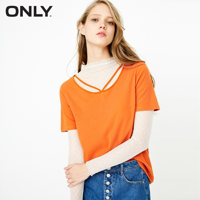 ONLY 100% cotton tie-up loose pure color T shirt tops summer casual |118101571