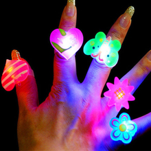 10PCS Kids LED Flashing Glow in Dark Finger Rings Christmas