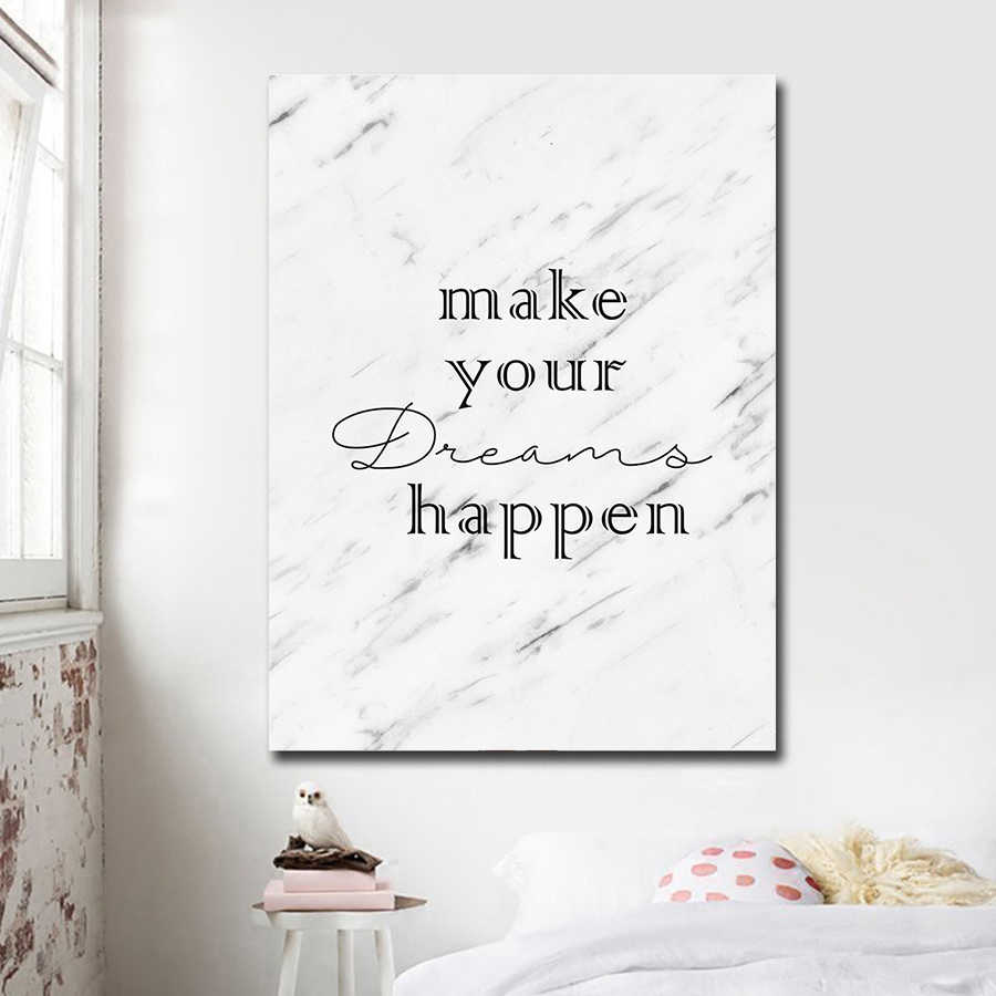 Abstract Painting Marble Posters and Inspirational Quotes Dream Canvas Pop Art Prints Wall Pictures for Kids Room Decor