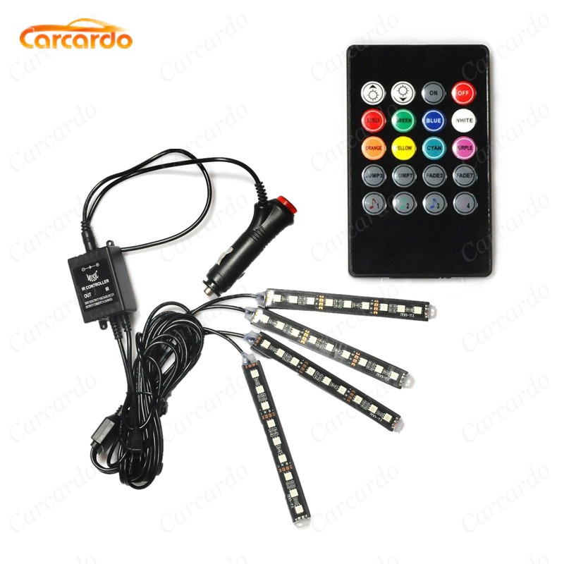 4 In 1 Interior Voice Control LED Glow Atmosphere Light Lamp 8 Color RGB Car Decoration Foot Strip Light With Controller 2 4g wireless control 360 rgb color neon glow interior underdash foot seat accent ambient light for vauxhall ampera 2012 2016
