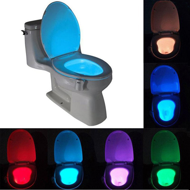 Sensor Led Toilet Light 8 Colors Battery Operated Lamp Lamparas Human Motion Activated Pir Automatic