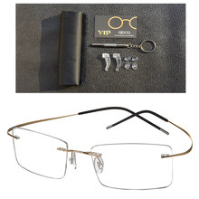 e7077236c41 100% Titanium Rimless Fashion Designer Eyeglasses Optical Glasses Frame Men  and Women Eyewear