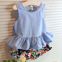Baby Children Girls Kids Clothing 2pcs Sets LOVELY Bow knot Flower Sleeveless Vest T-shirt Tops Vest + Shorts Pants Outfit Girl baby child girls kids clothing bow knot flower sleeveless vest t shirt tops ves shorts pants outfit girl clothes set 2pcs infant page 4 page 5