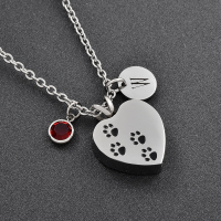 Women Stainless Steel Paw Print DIY Charm Pet Dog Cat Cremation Jewelry in Pendant Necklaces Free Shipping