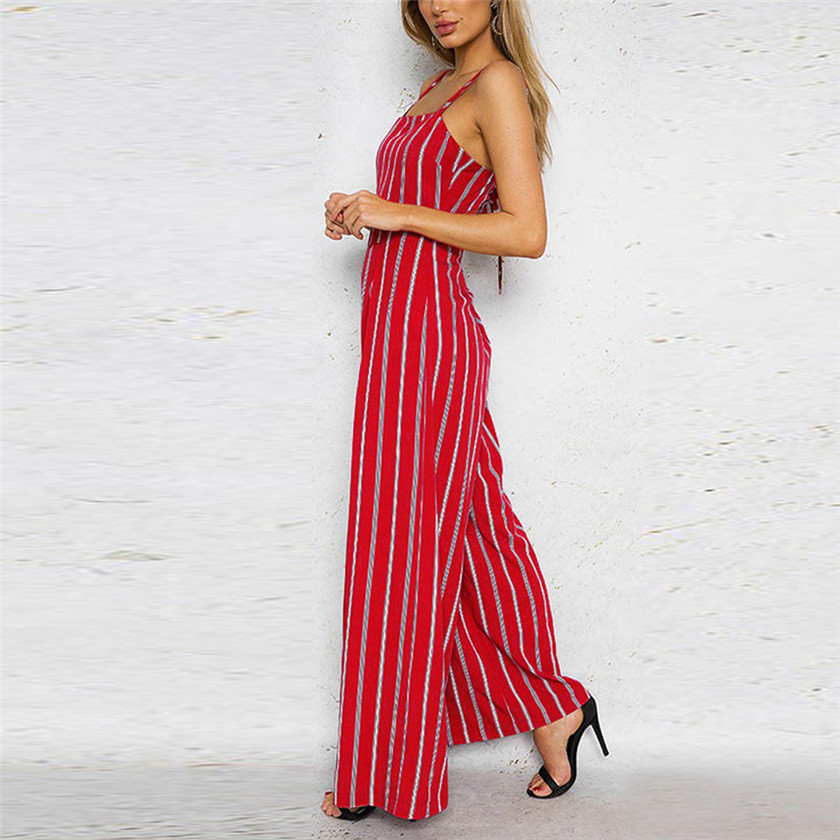 eabeaa3555c Sleeveless Striped Rompers Womens Jumpsuit Casual Wide Leg Pants Outfit Red  Overalls for Women S8717 dropship-in Jumpsuits from Women s Clothing on ...