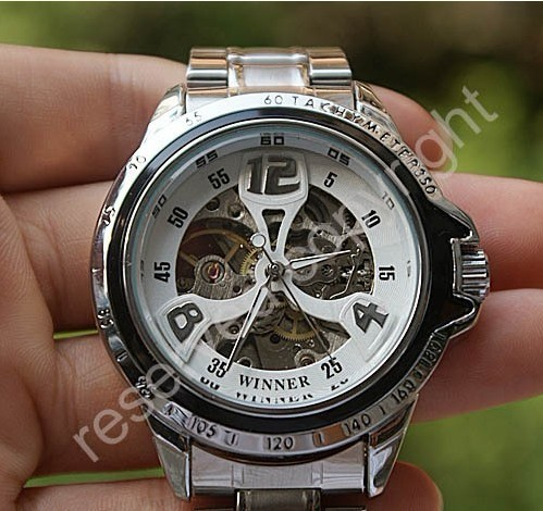 Free shipping Best Gift watches Fashion men mechanical Timepiece Automatic Mechanical watches self wind stainless steel Band