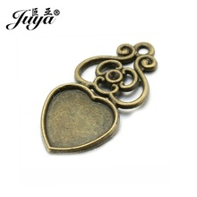 JUYA Vintage Cabochon Base Setting Suit 12mm Heart Cameo Glass 20pcs/lot Silver Filigree Hollow Cheaper Charms Pendant AD0094 20pcs 12mm heart inner size stainless steel material simple style cabochon base cameo setting charms pendant tray t7 41