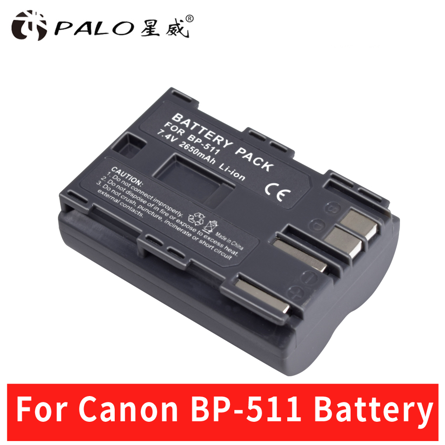 Palo 1 pcs 2650 mah BP 511 BP511 BP-511 BP511A Batterie Pour Appareil Photo Numérique Canon EOS 40D 300D 5D 20D 30D 50D 10D D60 G6 Batteries