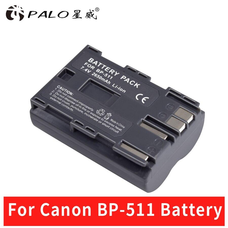 Palo 1 piezas 2650 mAh BP 511 BP511 BP-511 BP511A cámara Digital batería para Canon EOS 40D 300D 5D 20D 30D 50D 10D D60 G6 baterías