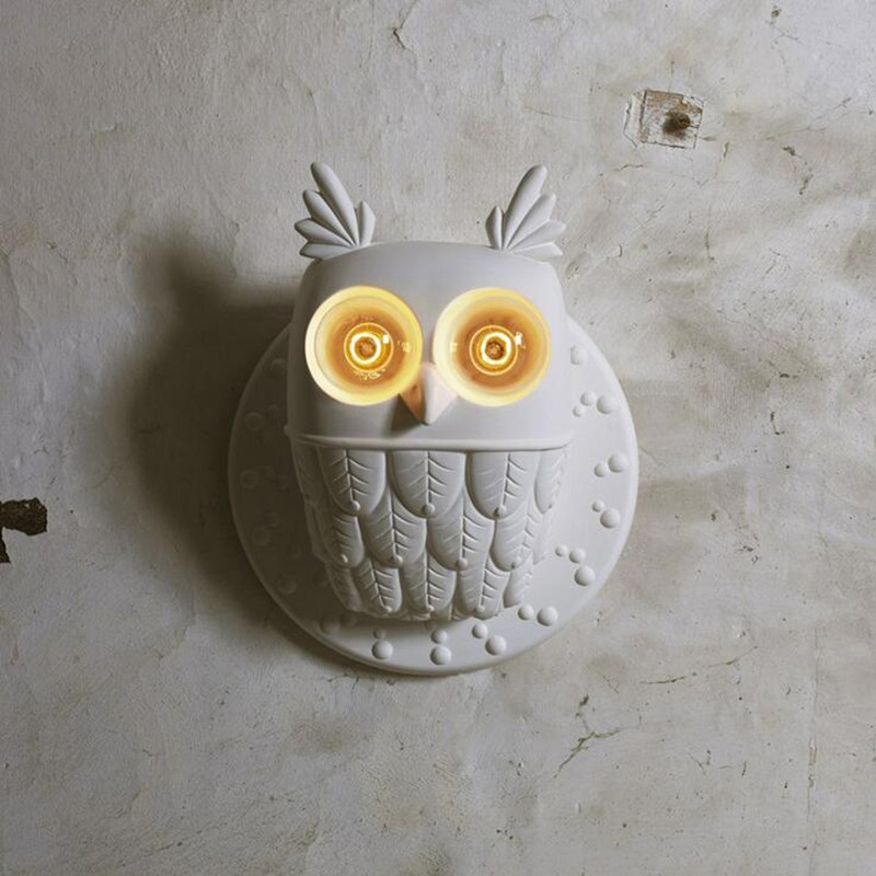 2 Heads Nordic Post Modern Resin E27 LED Lights Restaurant Living Room Bedroom Corridor Aisle Personality Creative Owl Wall Lamp modern fashion creative k9 crystal wifi design led 9w wall lamp for living room bedroom aisle corridor bathroom 80 265v 2063