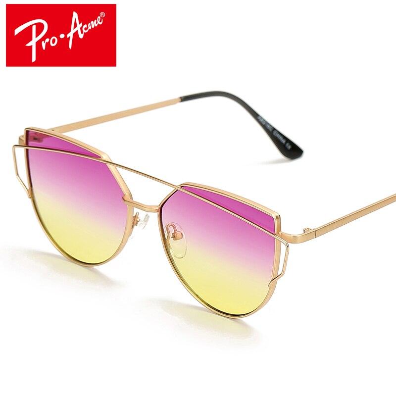 aec5c412ea269 Pro Acme Coreano Marca de Moda Moda Olho de Gato óculos de Armação de Metal  Lente Gradiente Óculos De Sol Das Mulheres Óculos de Sol Proteção UV CC0876