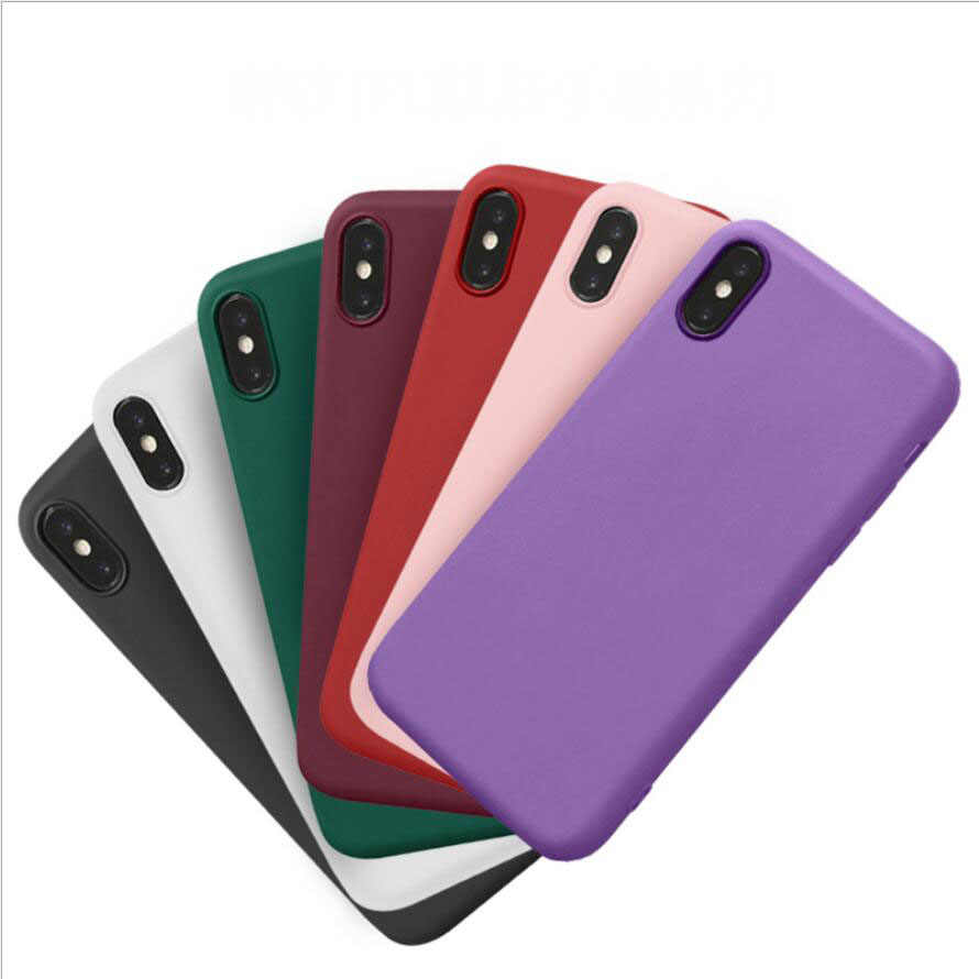 Candy Color Matte Phone Case For iPhone 7 Plus 6 S 6s 8 5 5s SE For iPhone XS MAX X S XR Simple Solid Soft TPU Cases Back Cover