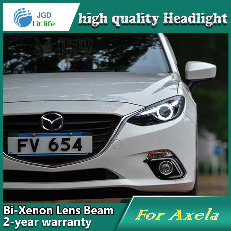 Head Lamp case for Mazda 3 Axela 2014 2015 Headlights LED Headlight DRL Lens Double Beam Bi-Xenon HID car Accessories hireno headlamp for hodna fit jazz 2014 2015 2016 headlight headlight assembly led drl angel lens double beam hid xenon 2pcs