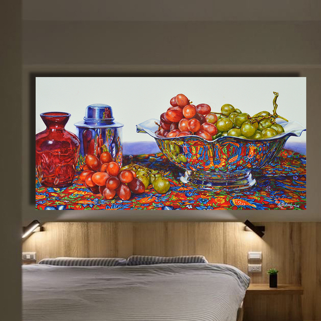 Qkart Home Decor Grapes In Silver Straighten Oil Painting Canvas
