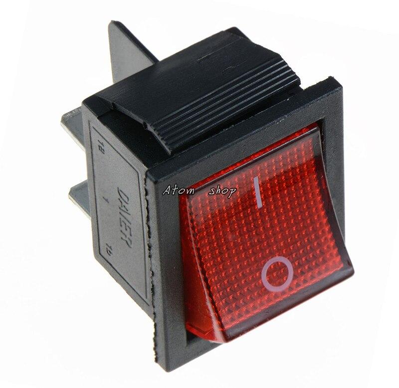 KCD4 1 шт. с подсветкой большой ВКЛ-ВЫКЛ 4-контактный кулисный переключатель-красные, синие зеленый желтый 20A 125VAC 16A 250VAC - Цвет: Красный