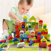 100pcs Childrens Toys Learning City Traffic Wooden Safety and Environmental Protection Building Blocks Gifts