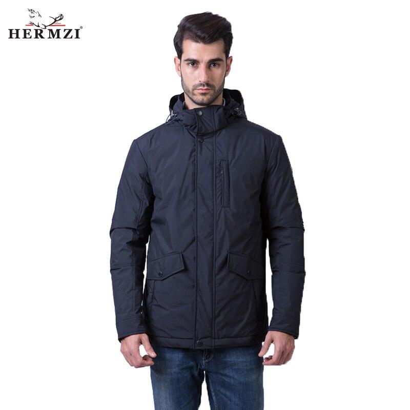 HERMZI 2018 New Spring Jackets Men Windbreaker Coat Fashion Padded Jacket Detachable Hood European Size Clothes Free Shipping