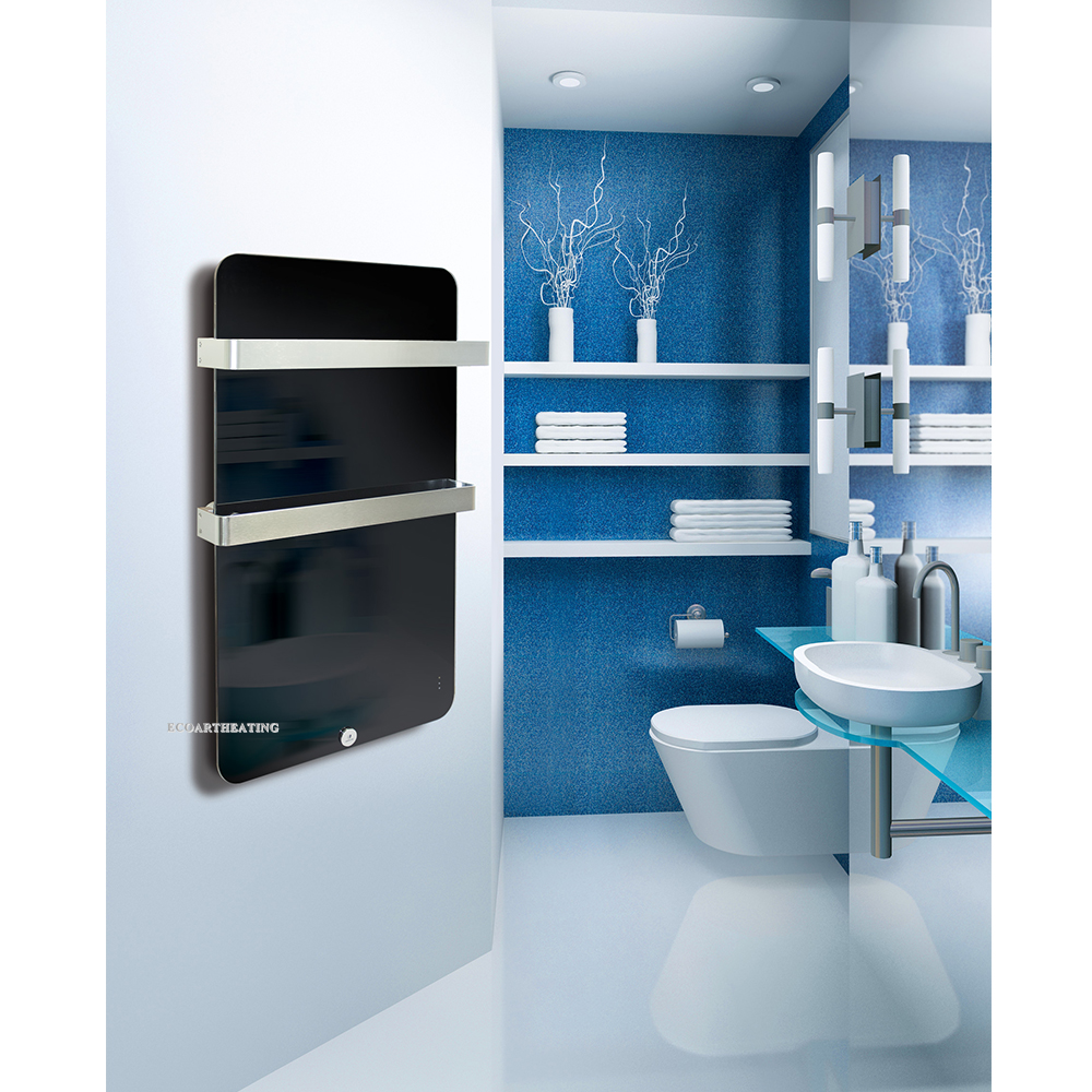 Vertical Wall Mounted Electric Bathroom Radiator Panel With Two Towel Rails
