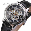 Classic Men's Watches  Black Leather Dial Skeleton Mechanical Waterproof Clock Sport Army Wrist Watch wholesale v