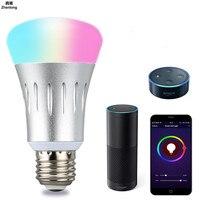 Intelligent Led wifi Light Bulb Remote Control LED Light RGBW E27 Bulb 110V 220V 7W Color Changing Light Bulb Works Indoor Home