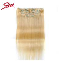 Sleek Colorful Hair 7Pcs Clip in Human Hair Extensions Brazilian Striaght Honey Blonde #613 Colored Remy Hair Extension Clip
