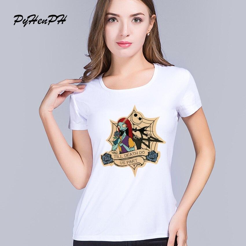 8ff26dce78 PH Padrão Noiva Cadáver Impresso T shirt Mulheres Nova marca de vestuário  Casual Gothic Pesadelo Antes do natal das mulheres t topos