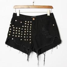 2015 Women's High Waisted Ripped Jeans Shorts Punk Tassel Shorts Vintage Rivet Sexy denim Shorts Plus size 4XL