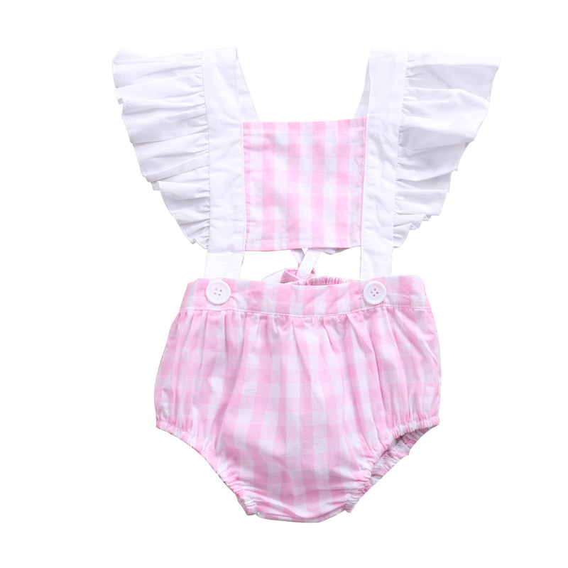 Cotton Cute Pink Rompers Infant Baby Girl Clothes Lace ...