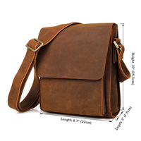 YUPINXUAN Mens Crazy Horse Leather Shoulder Bag Vintage Cow Leather Messenger Bags Genuine Leather Casual Flap Retro Male Bags
