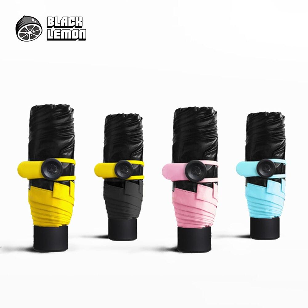 Маленький черный складной зонт дождь женский Сверхлегкий Солнцезащитный зонт Анти-УФ черное покрытие зонтик 4 цвета солнечный и дождливый зонтик
