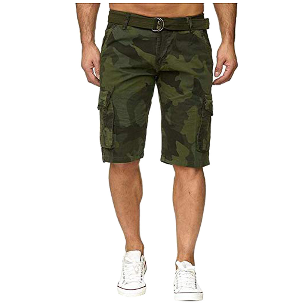 Summer Loose Men's Shorts Button Camouflage Cotton Multi-Pocket Overalls Fashion Pant Short Homme Trousers Cargo Short Plus Size(China)