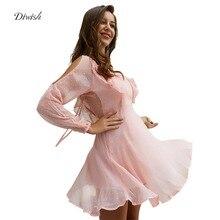 купить Diwish Women Chiffon Dress V-Neck Jacquard Mesh Pink Dress Long Sleeve Dress Cold Shoulder Mini Dress Summer Clothes for Women по цене 1304.72 рублей