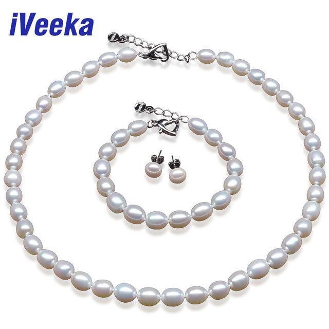 Veeka Conjunto de Pérola 7-8 mm Pérola de foram Arroz Branco Jóias Define 925 Brincos Prata Esterlina conjuntos de jóias para as mulheres