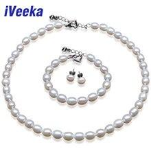 Veeka Perla Conjunto 7-8mm Arroz Blanco Perla sistemas de la joyería 925 el pendiente de plata esterlina sistemas de la joyería para las mujeres
