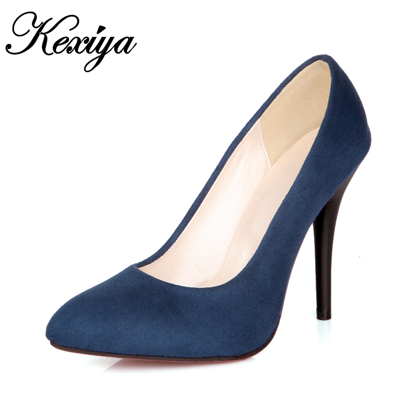 2016 Fashion suede women Pumps Sexy Pointed Toe Slip-On red wedding shoes big size 31-43 spring/Autumn high heels zapatos mujer spring autumn women pumps big size lazy shoes leather high thin heels pointed toe casual fashion party sexy slip on shallow