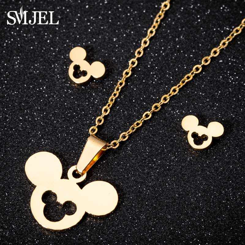 SMJEL สัตว์น่ารัก Mickey ต่างหูสร้อยคอทองชุดเครื่องประดับสำหรับสตรีสแตนเลสสตีลต่างหูสตั๊ดเด็กสาวของขวัญ