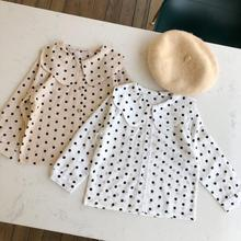 Новая рубашка в горошек для девочек Модная хлопковая блузка для девочек на осень и весну размеры от 1 до 6 лет PV933