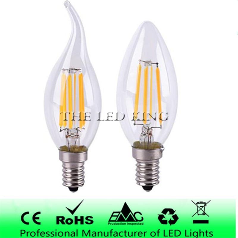 Chandeliers Candle-Bulb Filament C35-Lamp Halogen-Light E14 Led Dimmable Glass C35L 220V