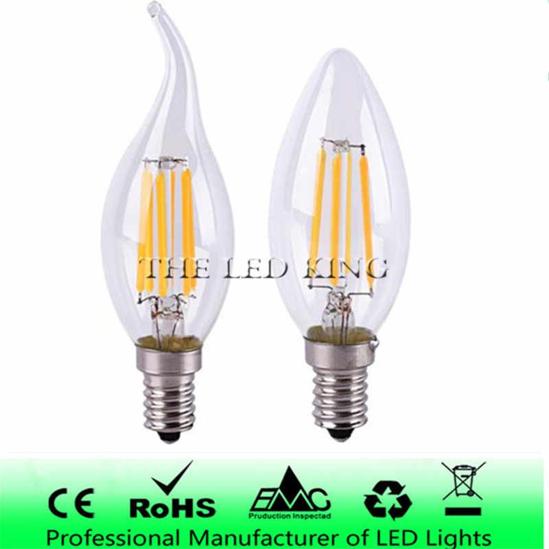 E14 LED Filament C35 Lamp C35L Dimmable Glass Candle Bulb 220V 4W 8W 12W Replace 20W 40W 60W Halogen Light Chandeliers