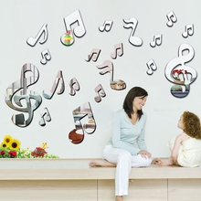 3D Musical Notes Acrylic Mirror Wall Stickers
