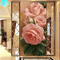 PSHINY 5D DIY Diamond Embroidery Pink Rose Flower Pictures Full Mosaic Kit Square Rhinestone Diamond Painting