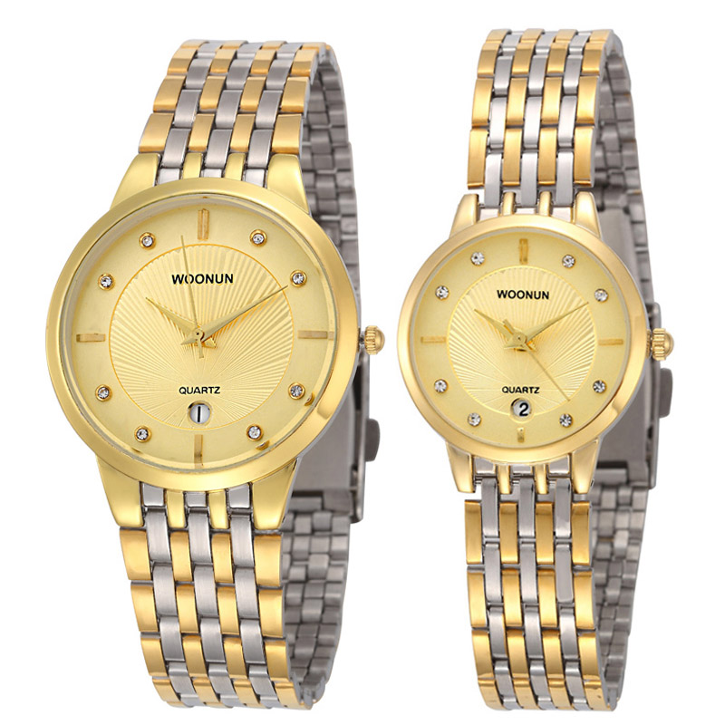2020 Woonun Branded Couple Watches For Lovers Gold Full Steel Quartz-Watch Ultra Thin Watches For Women Men Valentine Gift