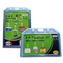1PCS/set Horizontal ID Badge Holder With Zipper transparent Plastic Badge Holder Accessories все цены